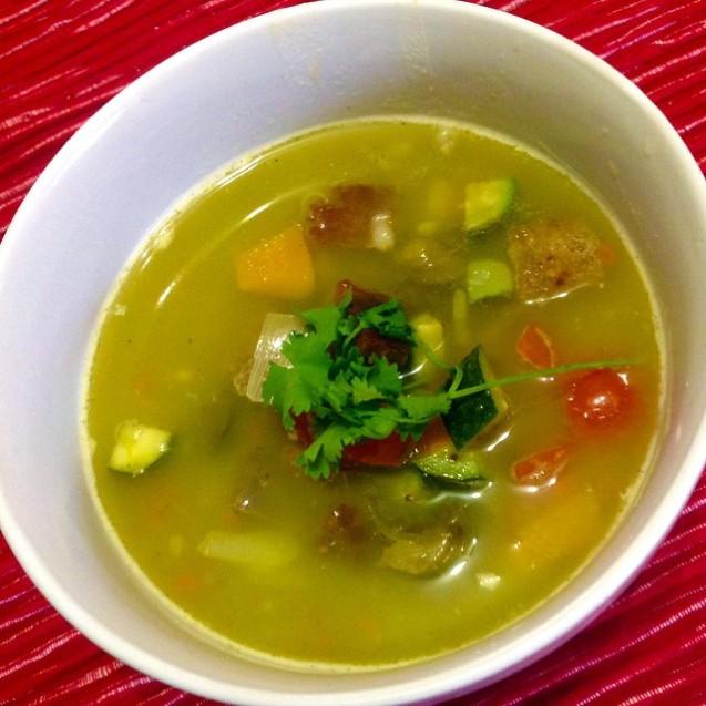 Pea & Barley soup with panzanella salsa