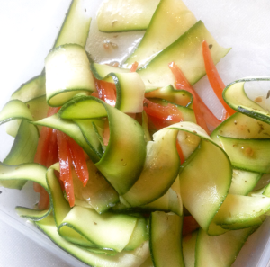 Raw Courgette and tomato salad